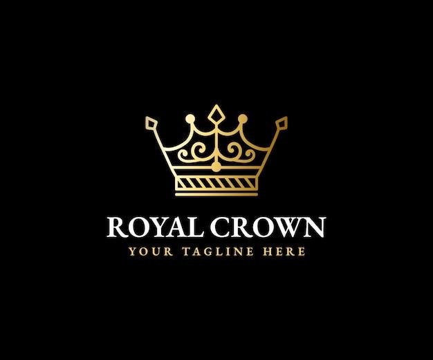 Plantilla de logotipo de corona real rey reina corona majestuosa y silueta de tiara de lujo para marcas vip