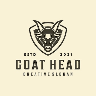 Plantilla de logotipo creativo de emblema de insignia de cabra inconformista