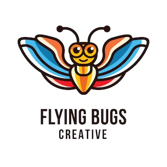Plantilla de logotipo creativo flying bugs
