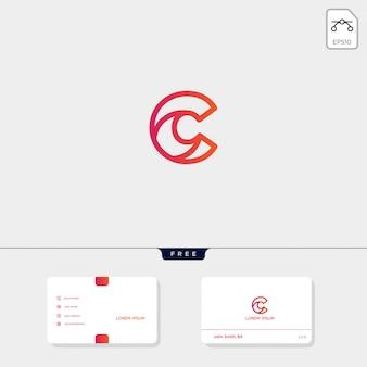 La plantilla de logotipo creativo inicial c, cc esquema y la plantilla de tarjeta de visita incluyen