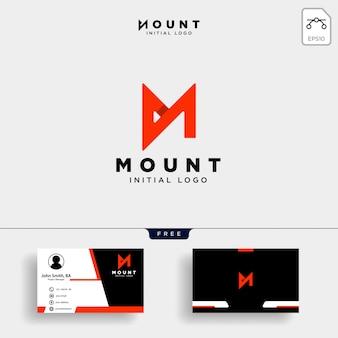 Plantilla de logotipo creativo de letra m única con tarjeta de visita