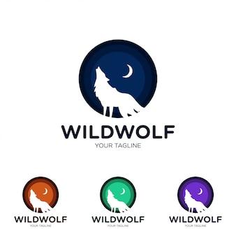 Plantilla de logotipo creativo de lobo salvaje