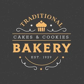 Plantilla de logotipo creativo panadería retro