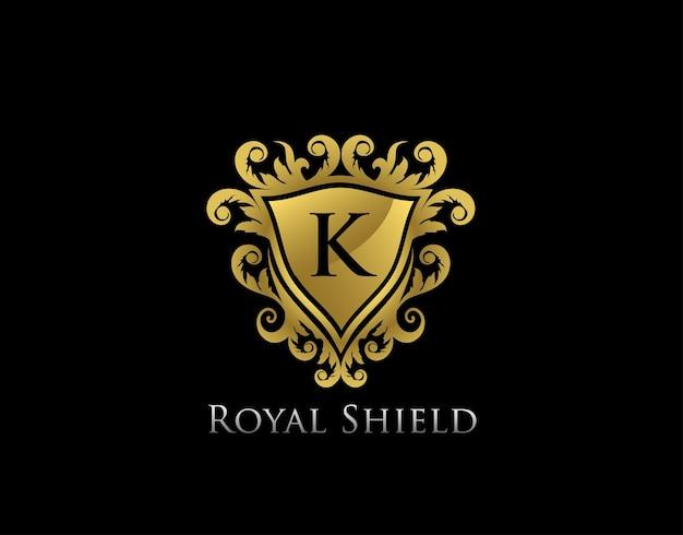 Plantilla de logotipo de cresta de letra royal gold king k