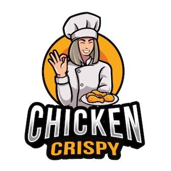 Plantilla de logotipo crujiente de pollo
