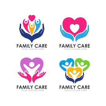 Plantilla de logotipo de cuidado familiar