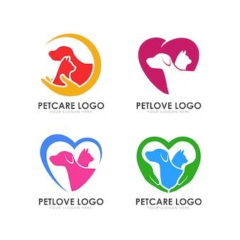 Plantilla de logotipo de cuidado de mascotas.