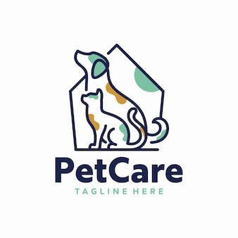Plantilla de logotipo de cuidado de mascotas