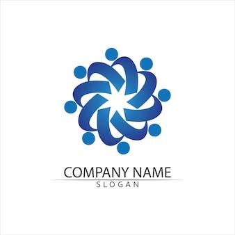 Plantilla de logotipo de cuidado de personas de la comunidad