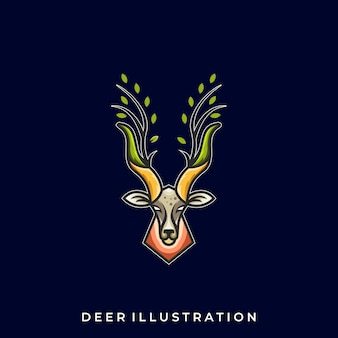 Plantilla de logotipo deer line art illustration