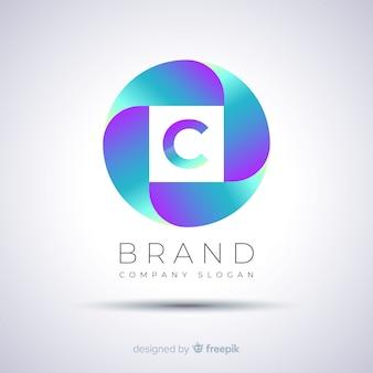 Plantilla de logotipo degradado abstracto esférico