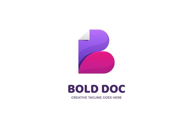 Plantilla de logotipo degradado de archivo de documento letra b