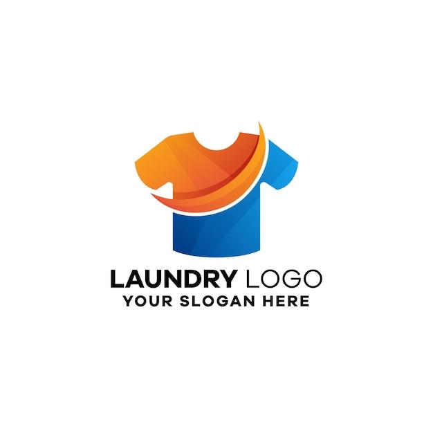 Plantilla de logotipo degradado de camisa de lavandería