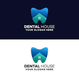 Plantilla de logotipo degradado de la casa dental