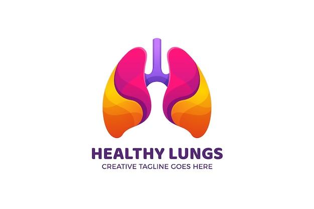 Plantilla de logotipo degradado de cuerpo de órgano de pulmones de colores
