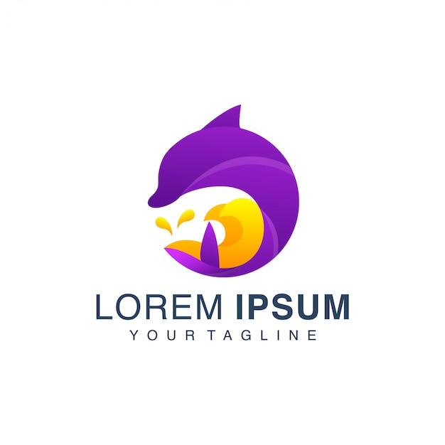 Plantilla de logotipo degradado de delfines