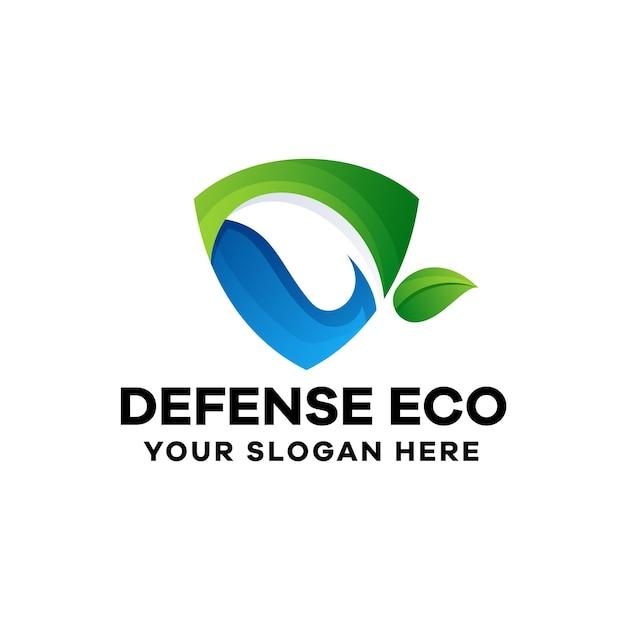 Plantilla de logotipo de degradado ecológico de defensa