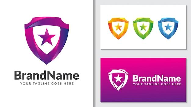Plantilla de logotipo degradado estrella de protección de escudo