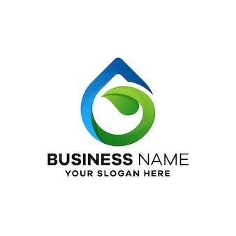 Plantilla de logotipo degradado de hoja de agua abstracta