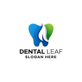 Plantilla de logotipo degradado de hojas dentales