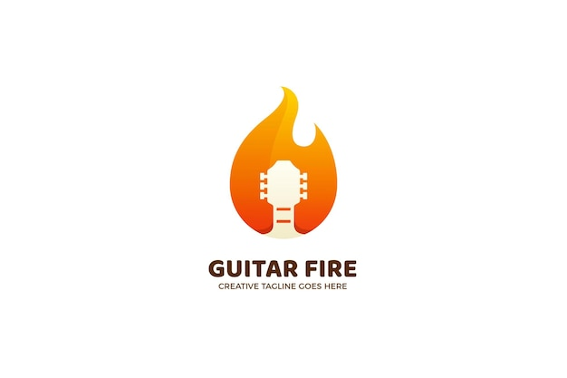 Plantilla de logotipo degradado de música de metal de fuego de guitarra