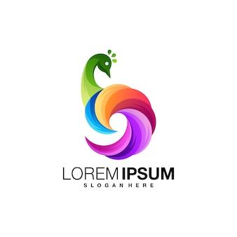 Plantilla de logotipo degradado de pavo real
