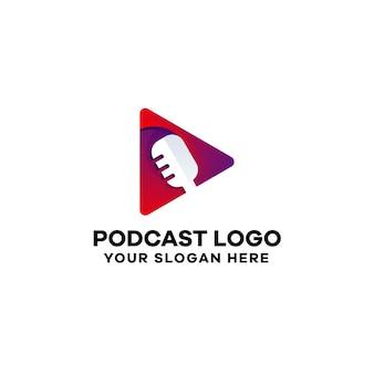 Plantilla de logotipo degradado de podcast