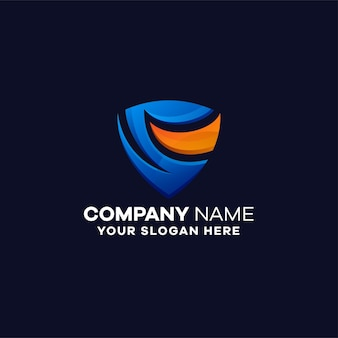 Plantilla de logotipo degradado de seguridad abstracta