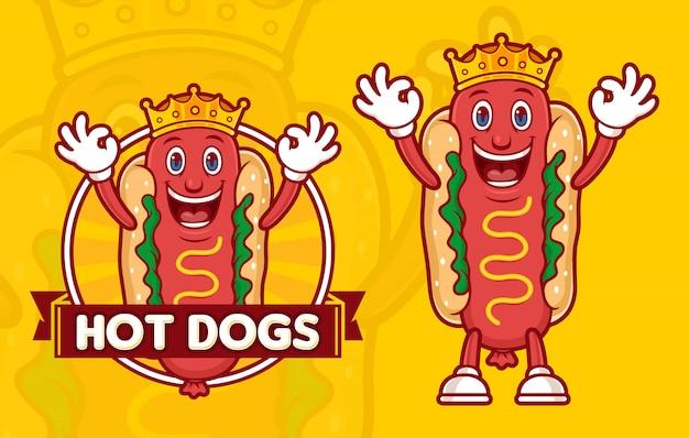 Plantilla de logotipo delicioso rey hot dogs, con personaje de dibujos animados divertidos