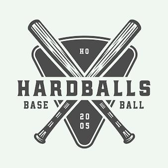 Plantilla de logotipo de deporte de béisbol vintage