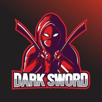 Plantilla de logotipo del deporte de bounty hunter con espada