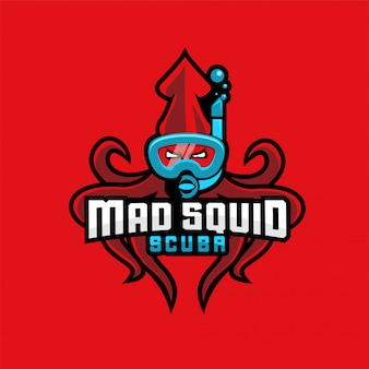 Plantilla de logotipo de deporte de buceo rojo calamar