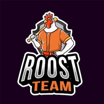Plantilla de logotipo de deporte de gallo