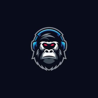 Plantilla de logotipo de deporte de gorila