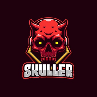 Plantilla de logotipo de deportes electrónicos red skull devil
