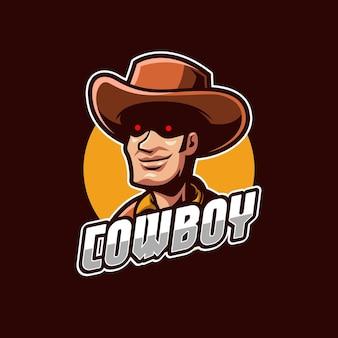 Plantilla de logotipo de deportes electrónicos de vaquero
