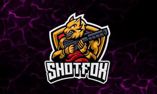 Plantilla de logotipo deportivo y mascota de fox soldier gaming