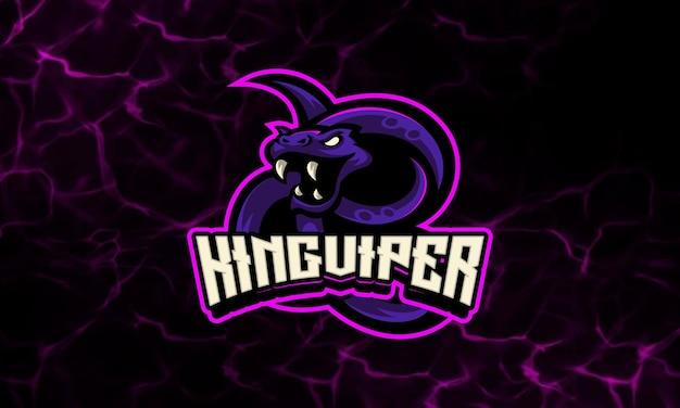 Plantilla de logotipo deportivo y mascota con luz de neón viper snake