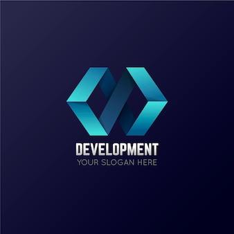 Plantilla de logotipo de desarrollo y código degradado