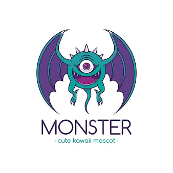 Plantilla de logotipo de dibujos animados de monstruo de ojo