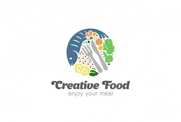 Plantilla de logotipo de dieta alimentos pescado y verduras