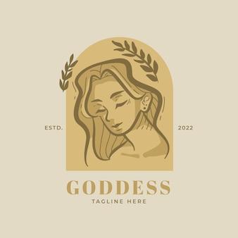 Plantilla de logotipo de diosa detallada
