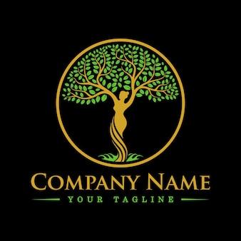Plantilla de logotipo de diosa de la diosa del árbol