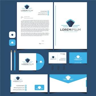 Plantilla de logotipo de diseño de barco y papelería