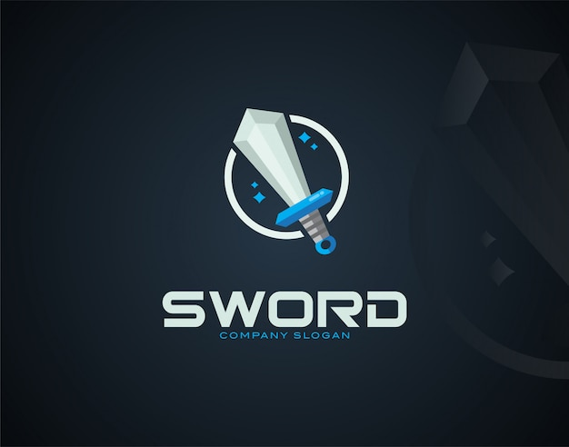 Plantilla de logotipo de diseño de espada moderna y de lujo