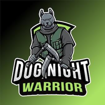 Plantilla de logotipo de dog night ninja warrior