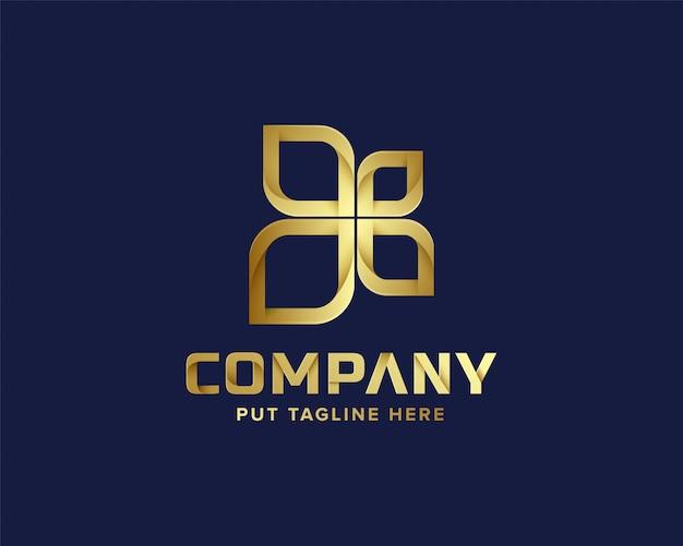 Plantilla de logotipo dorado abstracto de negocios