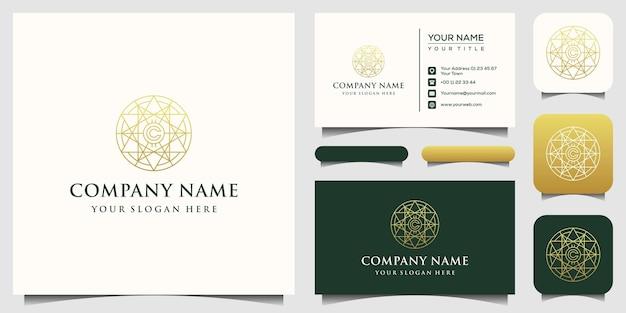 Plantilla de logotipo dorado de bitcoin, tarjeta de negocios