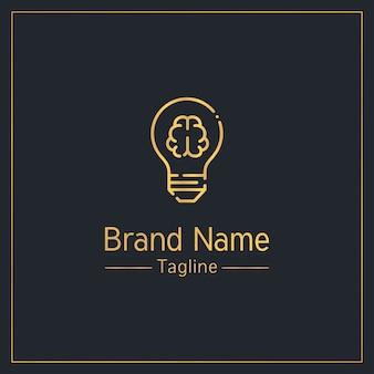 Plantilla de logotipo dorado moderno de cerebro y bombilla