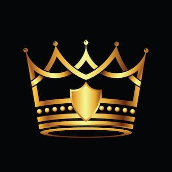 Plantilla de logotipo dorado moderno corona